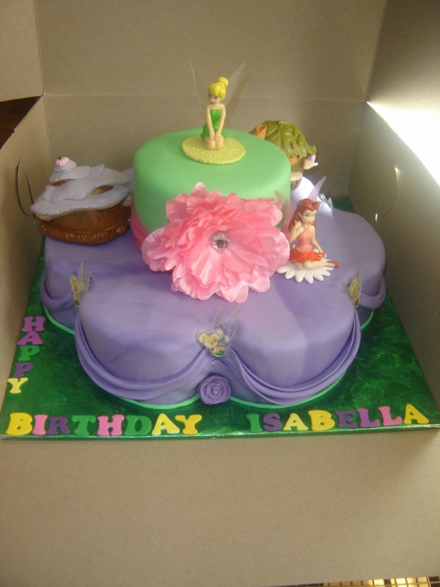 Tinkerbell Birthday Cakes Tinkerbell 2 Tier Birthday Cake Cakecentral