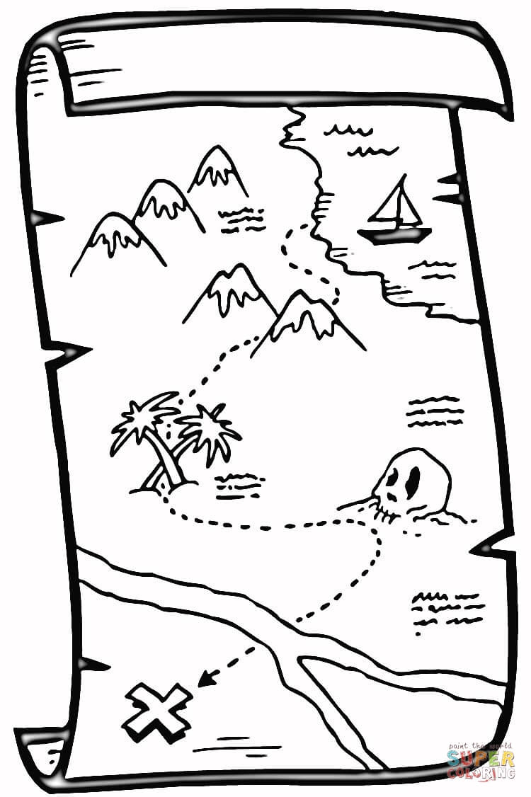 picture relating to Printable Treasure Map titled Inventive Impression of Treasure Map Coloring Internet pages -