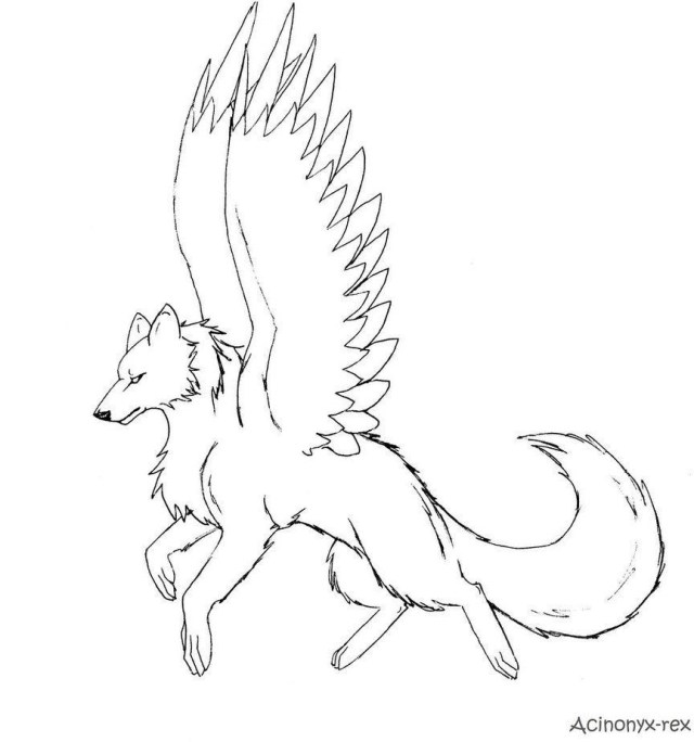 Wolf Coloring Pages 10 Pics Of Dragon Winged Wolf Coloring Pages Cool Anime 864 924
