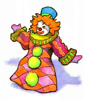 Watercolor Clown Puppet Icon