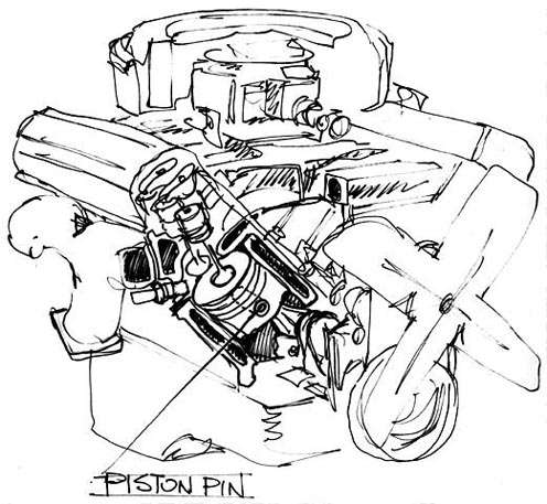 Automobile Engine Piston Pin - Technical Sketch
