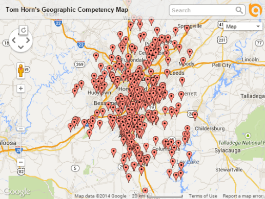 Tom Horn's geographic competency map