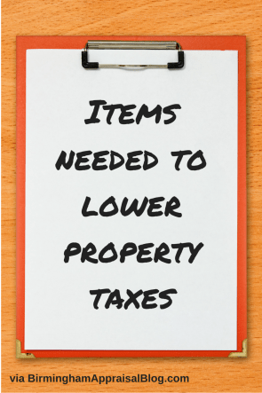 Items need to lower property taxes