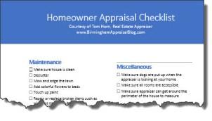 Homeowner Appraisal Checklist torn