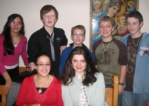 Andrew, Matthew, Jess, Pete and Jonathan with two young people from the Sunday School