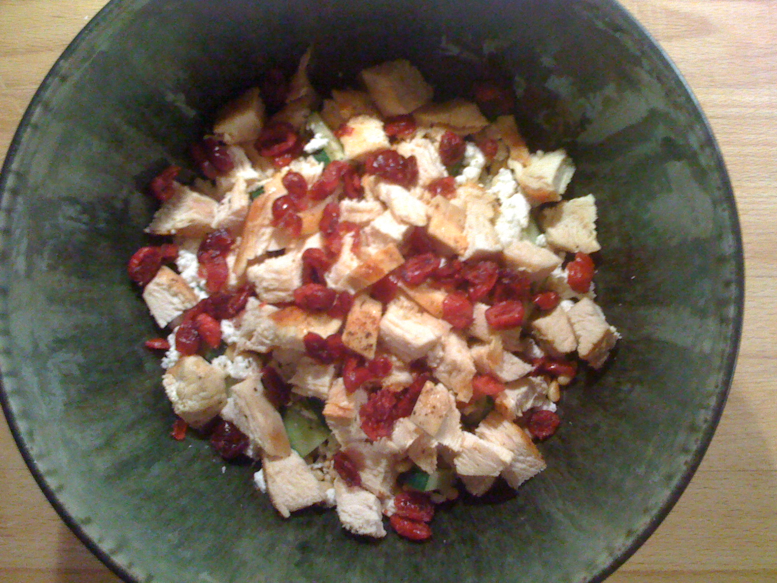 Cucumbers + Pine nuts + Goat Cheese + Chicken + Cranberries