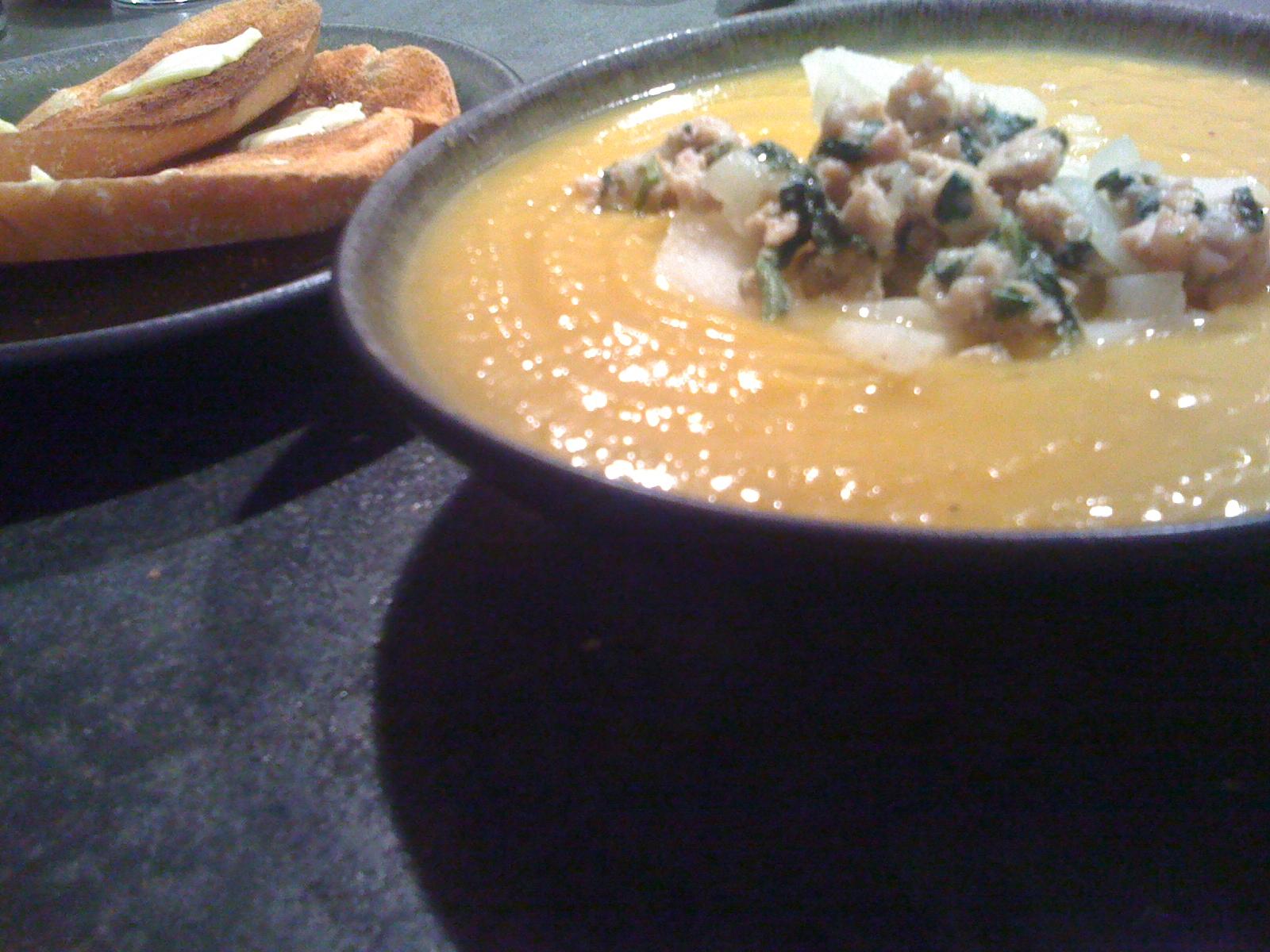 Kristen's Butternut Squash Soup plus toast