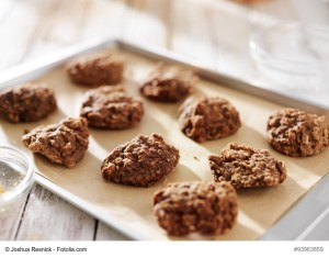 no bake cookies drying on tray