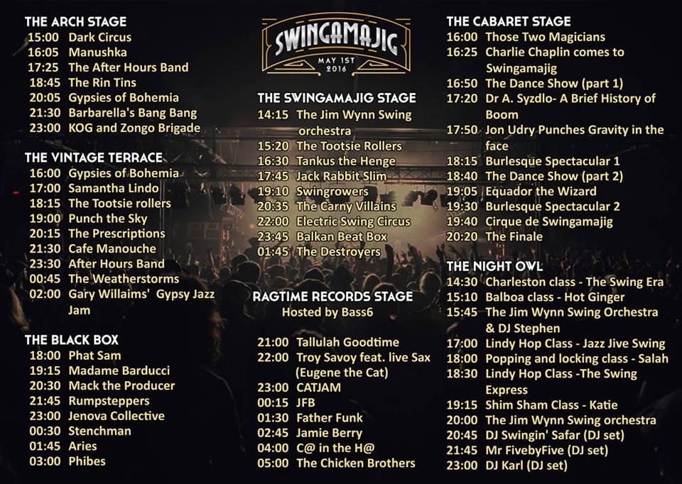Swingamajig 2016 line up