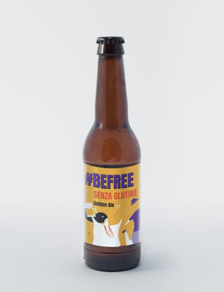 bottiglia di birra artigianale senza glutine bionda #befree