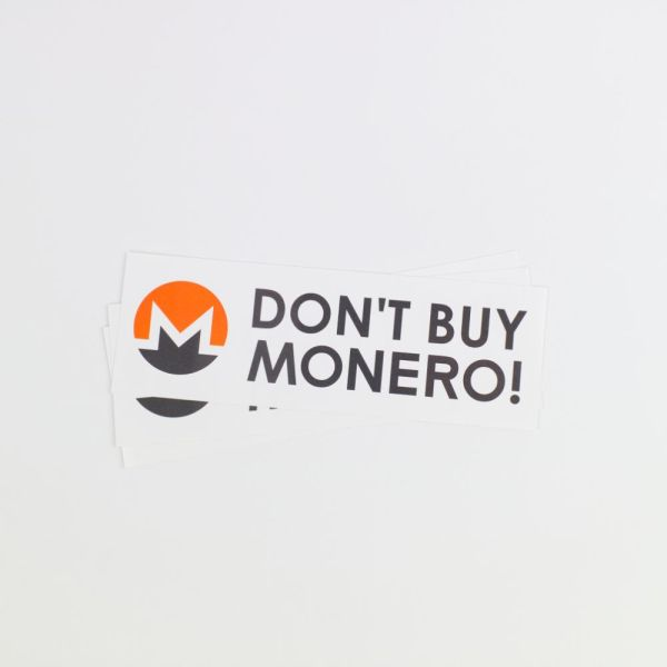 Don't Buy Monero Sticker Top
