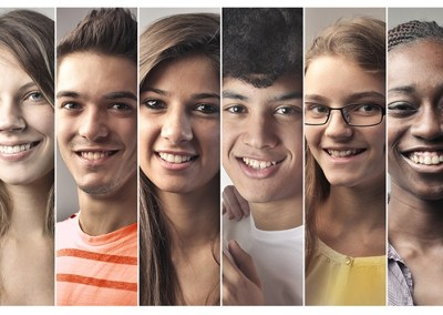 multiple close up images of teenage faces