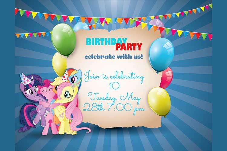 birthday invitation card with little pony