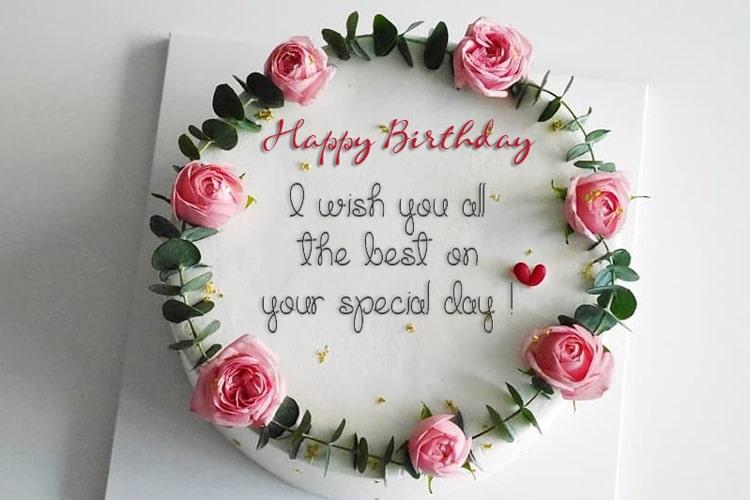 Happy Birthday Cake And Flowers
