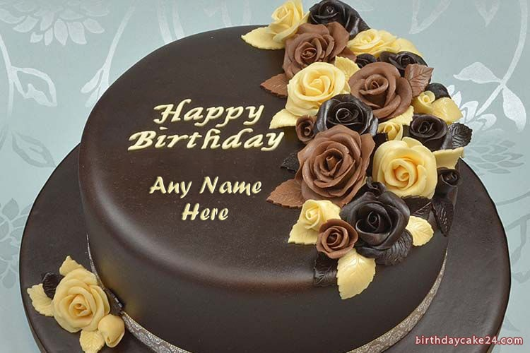 Chocolate Rose Birthday Cake With Name Edit