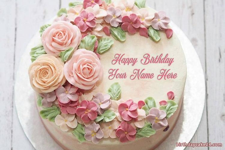Amazing Ice Cream Flower Birthday Cake With Your Name