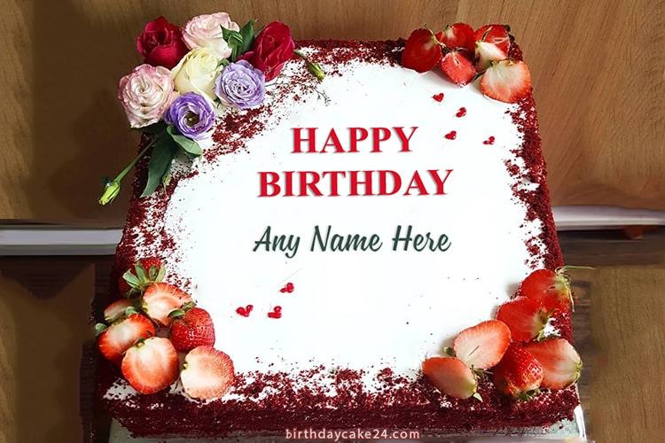 Get Free Red Velvet Birthday Cake With Name Edit