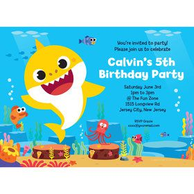 baby shark personalized invitation each