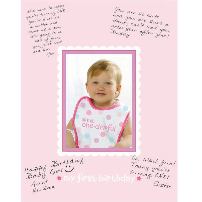 1st Birthday Girl Autograph Frame - Party Supplies