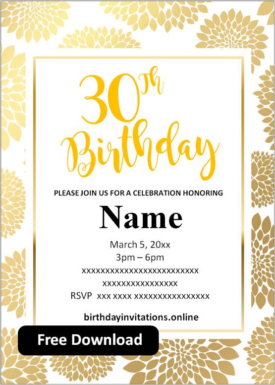 Free Printable 30th Birthday Invitations Templates Party Invitation
