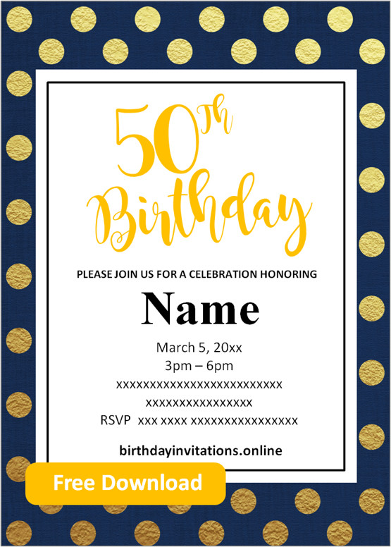 Free Printable 50th Birthday Invitations Templates Party Invitation