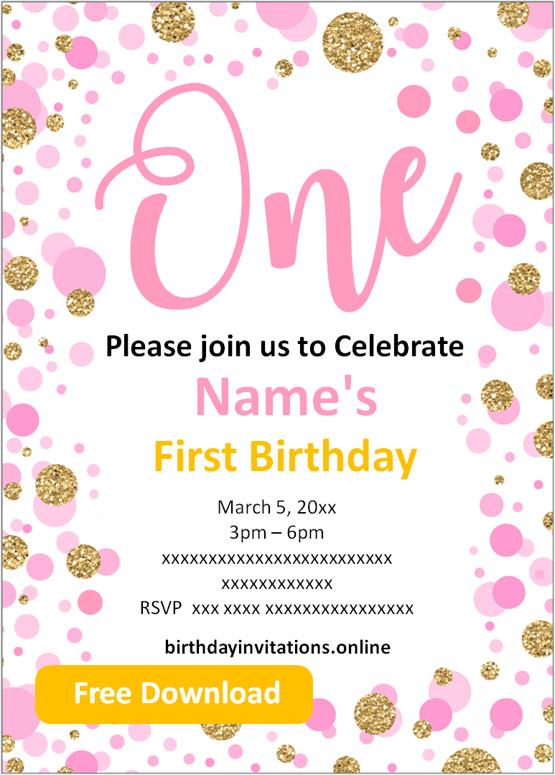 Free Printable First Birthday Invitations Templates Party Invitation