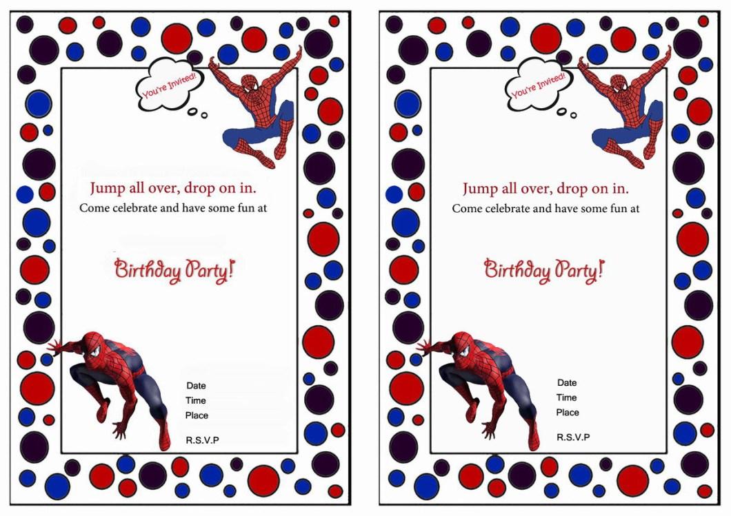 Free Printable Spiderman Birthday Invitation Cards | Rezzasite.co