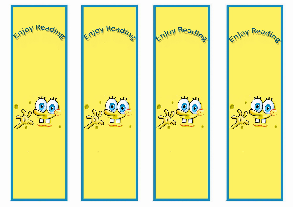 spongebob bookmarks birthday printable