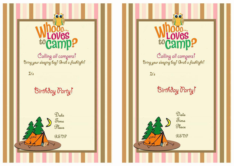 Camping Birthday Invitations