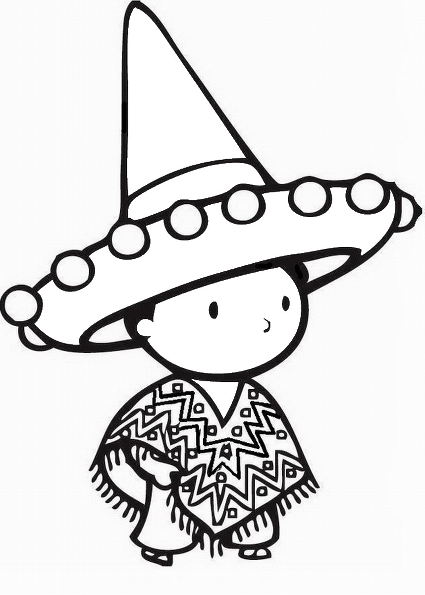 Fiesta Mexican Coloring Pages Birthday Printable
