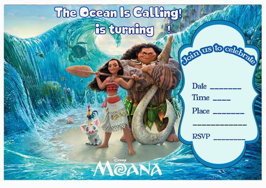 moana birthday invitations birthday