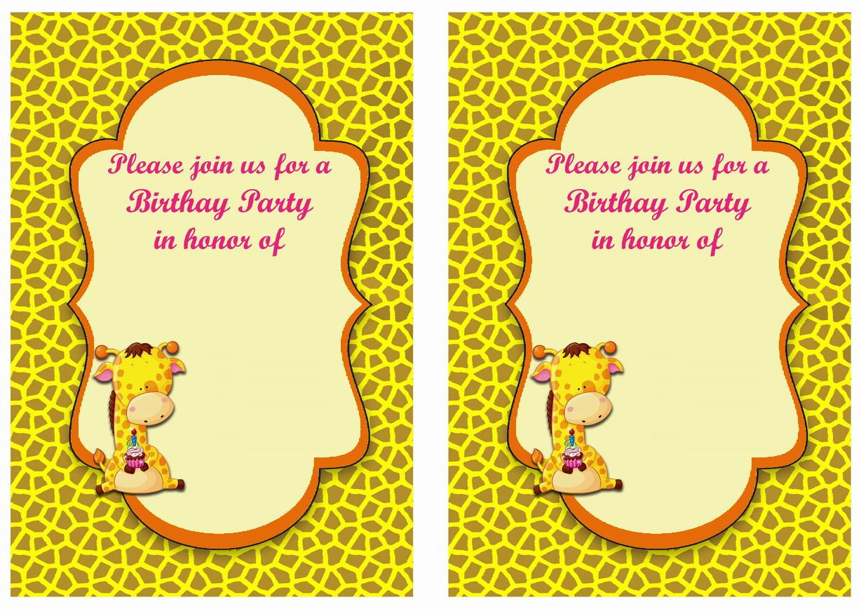 Giraffe Birthday Invitations Birthday Printable