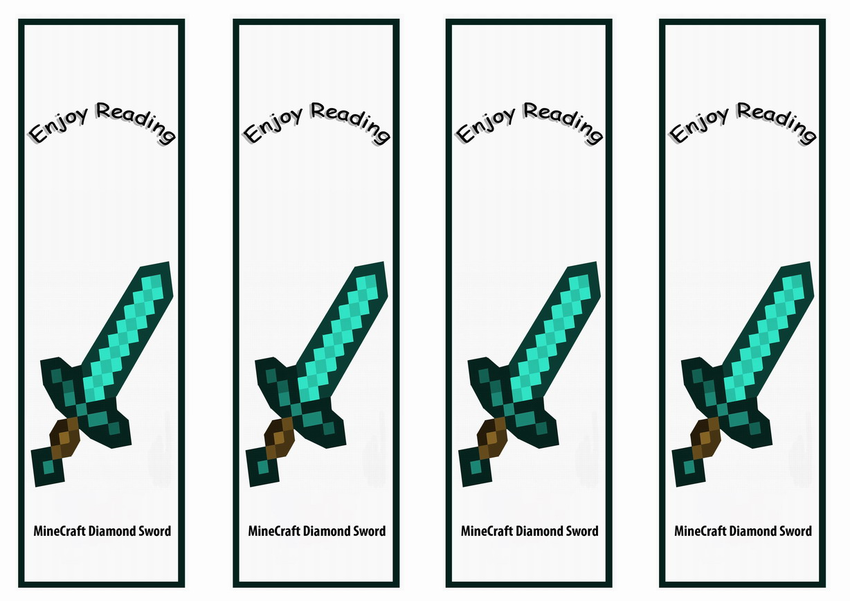 minecraft bookmarks birthday printable