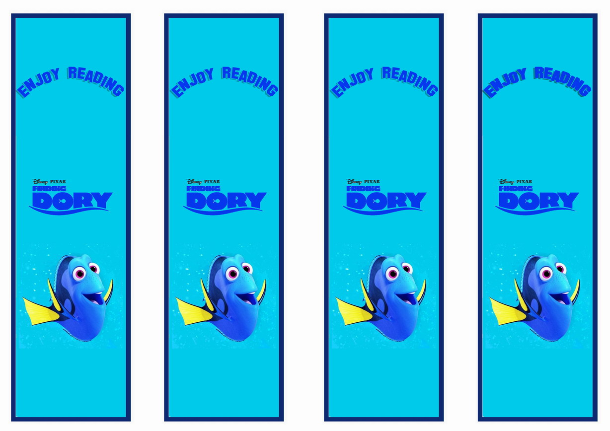 finding dory bookmarks birthday printable