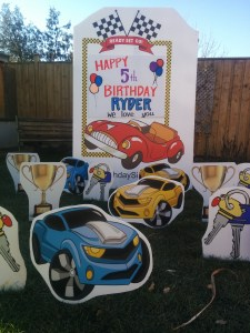 Race Car Lawn Sign and Ornaments