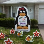 Penguin With Fish Lawn Sign