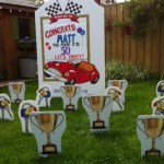 Winners Circle Lawn Greetings Comes with Race car Sign , trophies and keys.