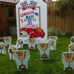 Race Car Lawn Sign with Trophy and Keys Lawn Ornaments