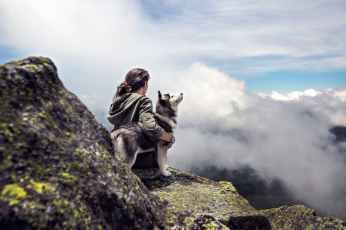 clouds girl mountain dog