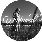Wildwood Birth Collective logo on black and white backdrop of pregnant woman in a field.