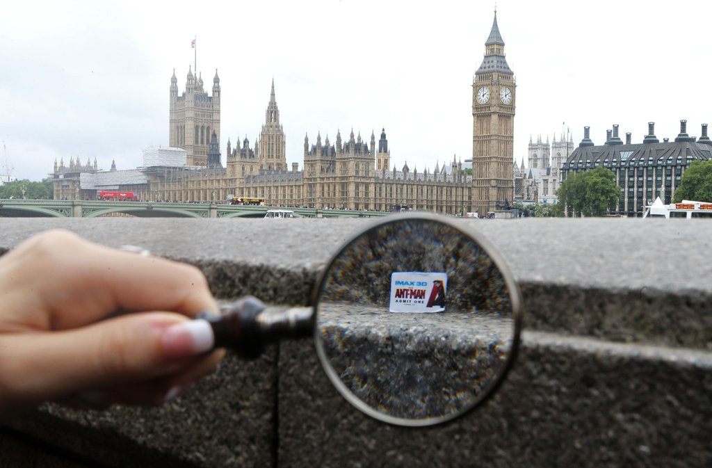 Picture of an ant sized ticket for ant-man in front of the houses of parliament in London for IMAX's marketing campaign in London.