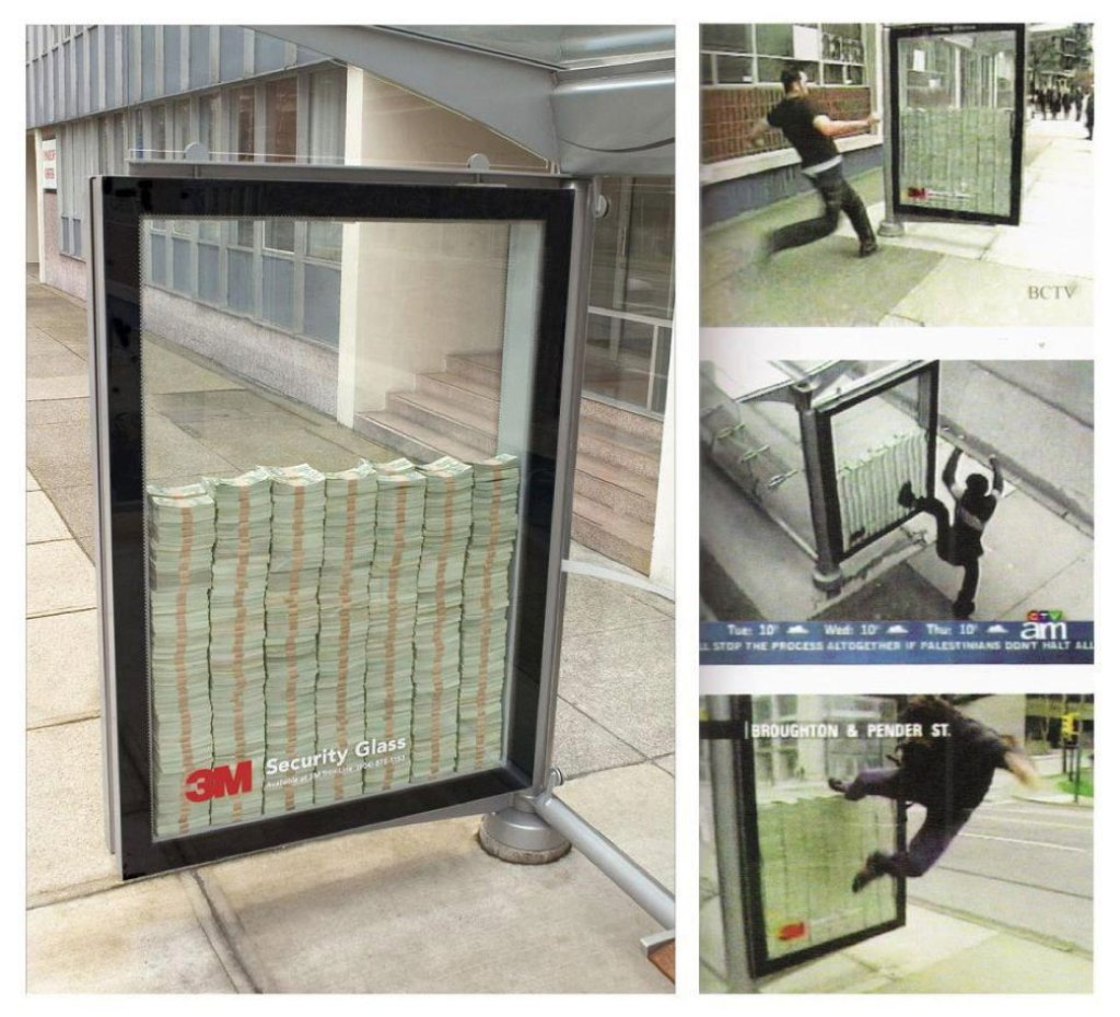 Picture showing 3M's guerrilla marketing which was a bus top filled with money behind 3M security glass
