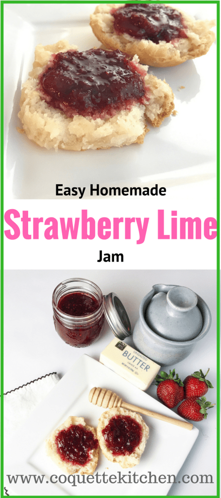 An easy to follow, low sugar, no pectin strawberry lime jam recipe that is fabulous on toast or as a topping for brie or other savory dishes! www.biscuitsandbooze.com