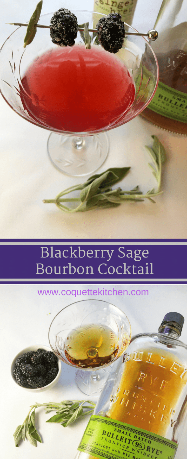 This GORGEOUS Blackberry Sage and Bourbon Cocktail is sweet, tart, woodsy, and delicious. Such an elegant little cocktail for your next brunch or dinner party! www.biscuitsandbooze.com