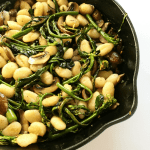 Quick and easy Brown Butter Gnocchi with Chinese Broccoli & Portobello Mushrooms is rich and satisfying and easy enough for weeknights. www.biscuitsandbooze.com