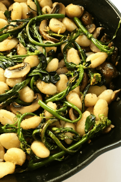 Brown Butter Gnocchi with Chinese Broccoli and Portobello Mushrooms