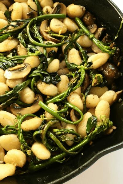Brown Butter Gnocchi with Chinese Broccoli and Portobello Mushrooms