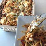 This easy Vegetarian Baked Million Dollar Spaghetti Casserole is a comfort food winner. It's a cross between lasagna and baked spaghetti, it's packed full of vegetables, but since it features 5 different cheeses you might never know it! #vegetarian #comfortfood #vegetariancasserole #spaghetti #milliondollarspaghetti #makeaheadmeal #freezermeal #vegetarianfreezermeal #kidfriendly