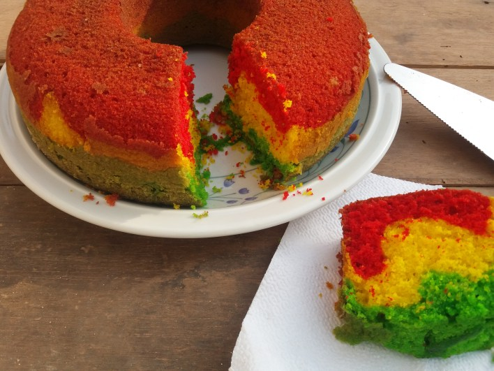 Ghanaian pound cake using the national colours. ( The black star could not make it in time) Happy 60th Ghana!
