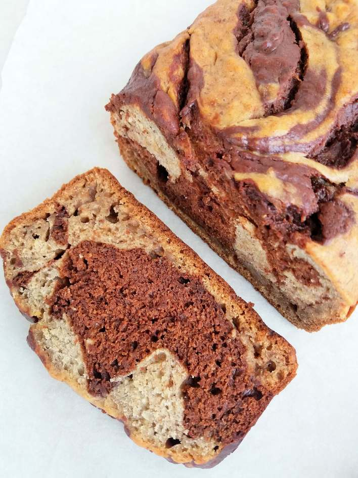 a very moist chocolate marbled banana bread